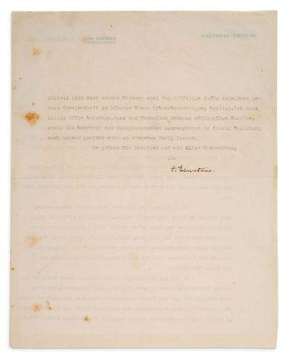 EINSTEIN Albert (1879-1955) L.S. «A. Einstein», Berlin 19 novembre 1929, à Heinrich...