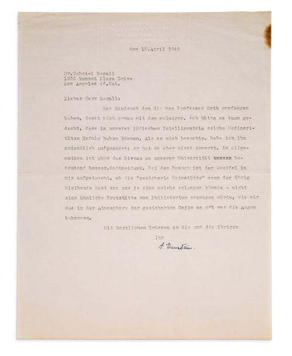 EINSTEIN Albert (1879-1955) L.S. «A. Einstein», Princeton, New Jersey 12 avril 1945,...