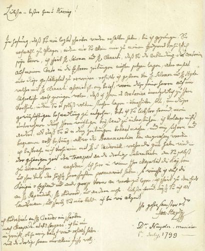 HAYDN JOSEPH (1732-1809) L.A.S. «Jos. Haydn», [Vienne 1er juillet 1799], à Johann...