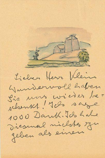 HESSE HERMANN (1877-1962) Romancier et poète allemand. L.A.S. «H. Hesse» avec AQUARELLE,...