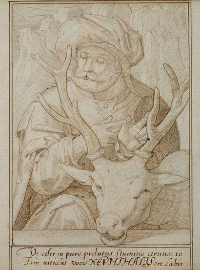 [MANUSCRIT]. Recueil de dessins à la plume avec légendes ou extraits bibliques ou...
