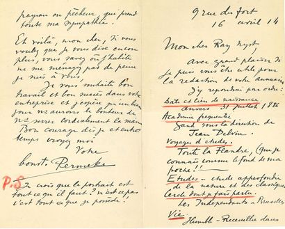 BELGIQUE. BEAUX-ARTS. 57 L.A.S. et manuscrits autographes, adressés à Ray NYST, 1914;...