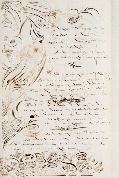 BOREL Pétrus (1809-1859). L.A.S. avec DESSINS à Arsène HOUSSAYE; 2 pages in-fol.,...