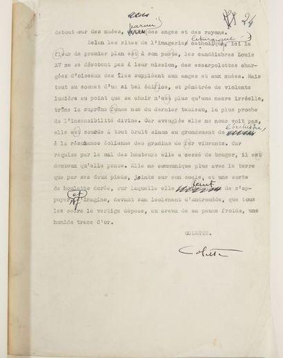 COLETTE SIDONIE-GABRIELLE (1873- 1954) Nudité, tapuscrit original signé Tapuscrit...