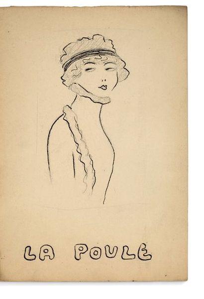 GUITRY Sacha (1885-1957). RECUEIL de 9 DESSINS originaux, avec feuillets de titre...