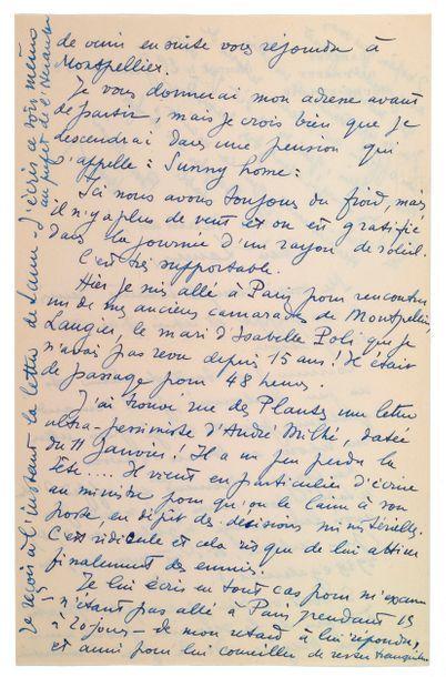 MOULIN Jean.( 1899-1943). L.A.S. à sa mère et à sa soeur Laure. Chartres, 25 janvier...