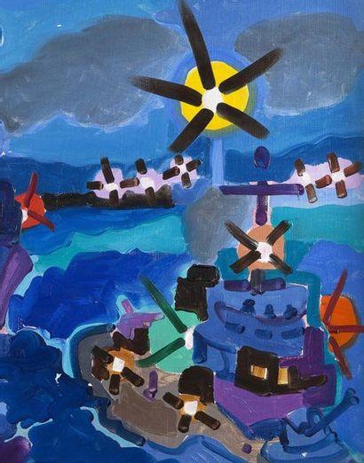 Charles LAPICQUE (1898-1988) Manoeuvres de nuit, 1958 Huile sur toile, signée et...