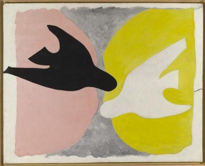 Georges BRAQUE (1882 - 1963) * L'ordre des Oiseaux , 1962 Huile sur papier marouflé...