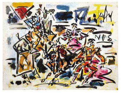 GEN PAUL (1895-1975) Corrida Gouache, signée en haut à droite Gouache, signed upper...