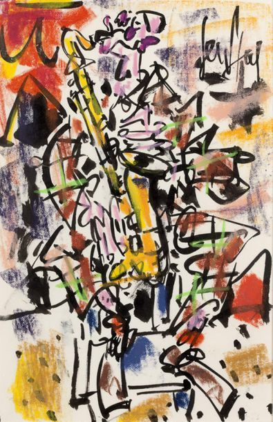 GEN PAUL (1895-1975) Clown saxophoniste Gouache and criolor, signed upper right 31...