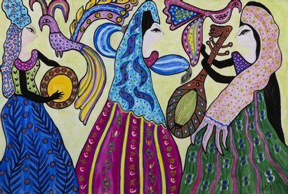 MAHIEDDINE BAYA (1931-1998) Musicenne et danseuses aux oiseaux, 1975 Gouache et aquarelle...