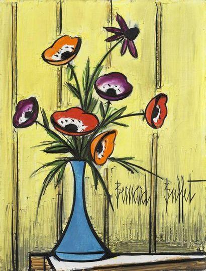 Bernard BUFFET (1928-1999) 一 群海葵 ,1985年 等高线上的油画,右下方有签名,背面有日期和签名 硬纸板上的油画,右下方有签名,背面有日期和签名...