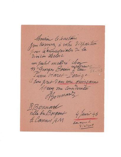 BONNARD Pierre (1867-1947) Lettre autographe signée adressée à Léonce BÉNÉDITÉ. Le...
