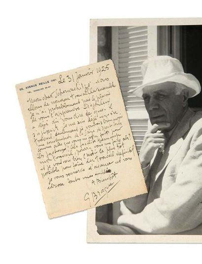 """BRAQUE Georges (1882-1963) Signed autograph ticket addressed to his """"dear Scherwashitzé""""...."""