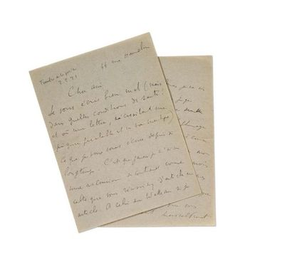 PROUST Marcel (1871-1922) Signed autograph letter addressed to Jean-Louis VAUDOYER....