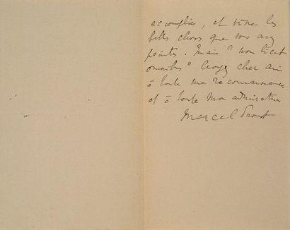 PROUST Marcel (1871-1922) Signed autograph letter addressed to BINET-VALMER. S.l.,...