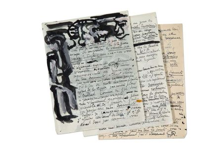 ROUAULT Georges (1871-1958) Lettre autographe signée illustrée de deux dessins originaux,...