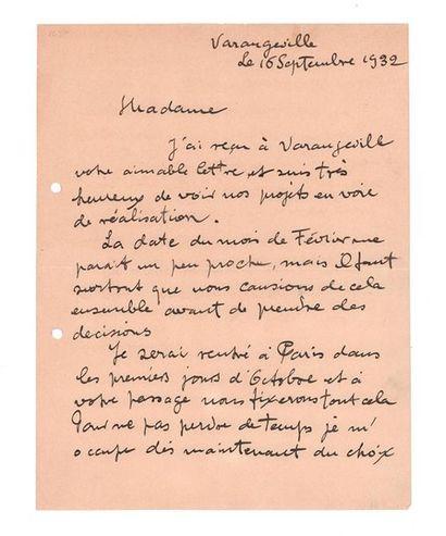 BRAQUE Georges (1882-1963) Lettre autographe signée adressée à une inconnue. Varangeville,...