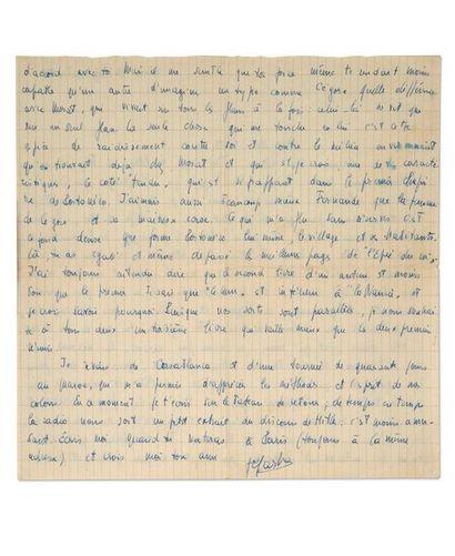 SARTRE Jean-Paul (1905-1980) Lettre autographe signée adressée à l'écrivain René...