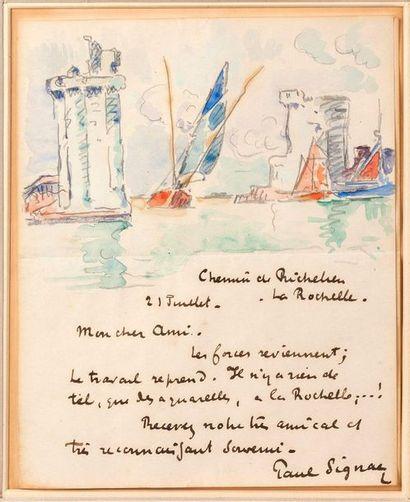 SIGNAC Paul (1863-1935) Lettre autographe signée avec dessin à l'aquarelle adressée...