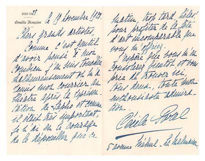 SOREL CÉCILE (1873-1966) Deux lettres autographes signées adressées à M. et Mme Sakaroff....