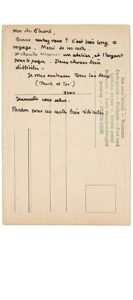 TANGUY YVES (1900-1955) Carte postale avec dessin original adressée à Paul ÉLUARD....