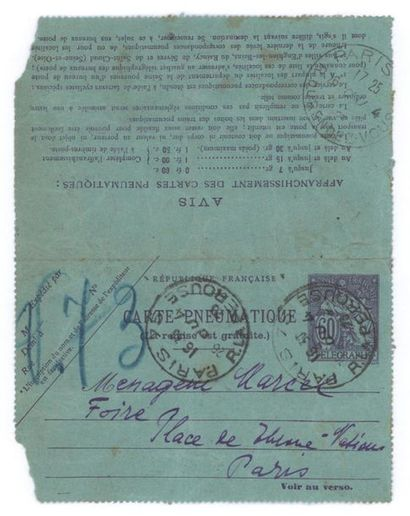 """VORONOFF Alexandre (1881-1944) Signed autograph telegram addressed to the """"Ménagerie..."""