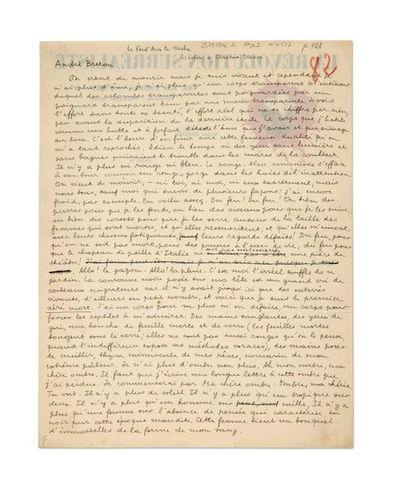 BRETON André (1896-1966) La forêt dans la Hache, manuscrit autographe signé. S.d....