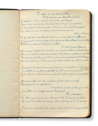 BRETON André (1896-1966) Autograph notebook of seventeen poems that belonged to Paul...