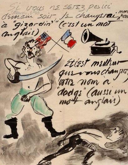 CALDER Alexander (1898-1976) Lettre autographe avec grand DESSIN aquarellé adressée...
