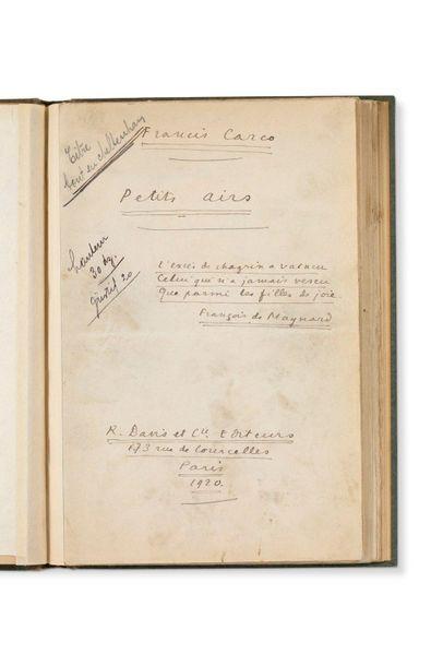 CARCO FRANCIS (1886-1958) Petits airs, manuscrit autographe signé. 1920, 28 pages...