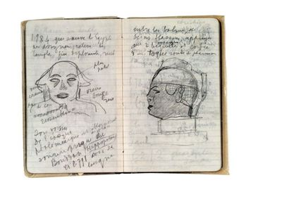 CARCO FRANCIS (1886-1958) Carnet autographe signé avec quatorze dessins ou croquis....