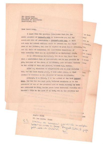 CENDRARS Blaise (1887-1961) Ensemble de documents autour du film tiré de L'Or. 6...