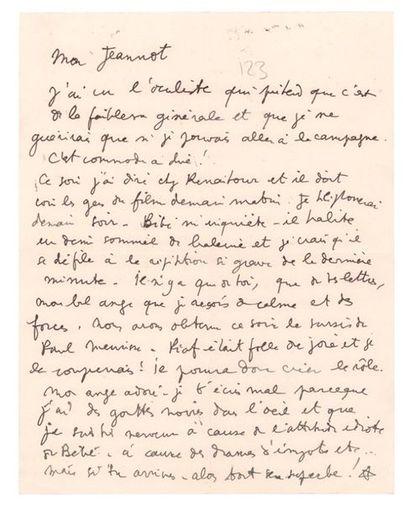 COCTEAU Jean (1889-1963) Lettre autographe signée adressée à Jean Marais. S.l.n.d....