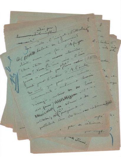 COLETTE SIDONIE-GABRIELLE (1873-1954) À l'ombre du Mal de Henri-René LENORMAND, manuscrit...