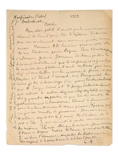 ARAGON Louis (1897-1982) Signed autograph letter addressed to Georges SADOUL. Berlin,...