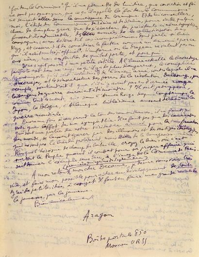 ARAGON Louis (1897-1982) Lettre autographe signée adressée à Luc DECAUNES. Moscou,...