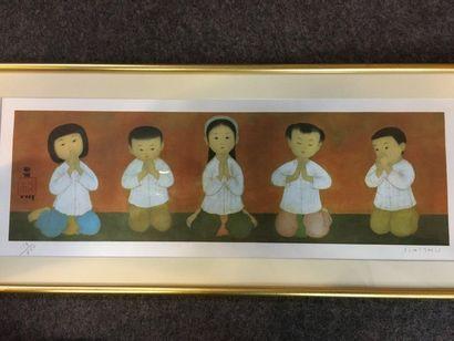 D'après Mai Thu (1906-1980)  La prière  Procédé...