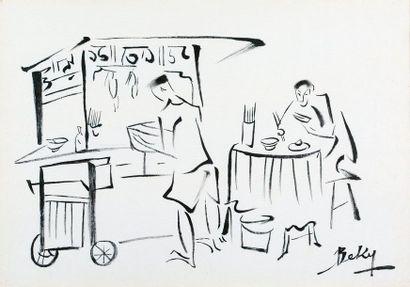 Be Ky (né en 1938)  Scène de restaurant  Encre...