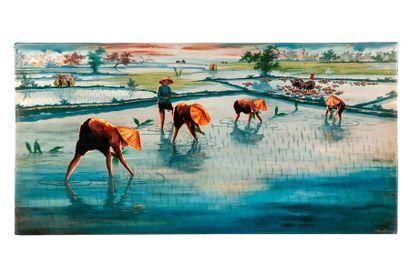 Thanh Ouang (XXe siècle)  Les rizières  Panneau...