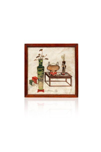 Chine, XIXe siècle  Grand panneau en albâtre,...