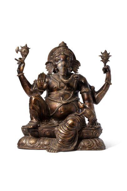 Inde, XXe siècle  Statue en bronze figurant...