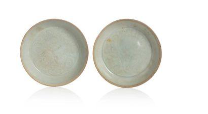 CHINE ÉPOQUE SONG (960-1279) Deux coupes en céramique émaillées de type qingbai,...