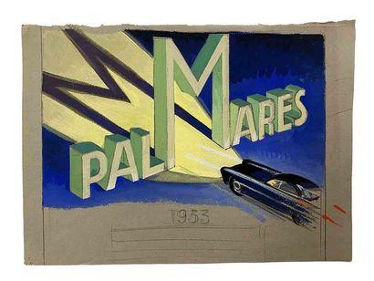 ALEXIS KOW (attribué à)  Marchal  Esquisse, projet de publicité  1953  Crayon et...