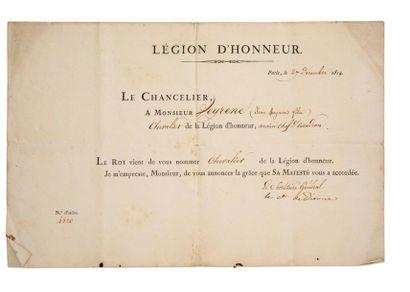 LÉGION D'HONNEUR, PREMIÈRE RESTAURATION