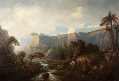 ADOLPHE LEROY (1810-1888) Paysage imaginaire, 1884 Huile sur toile (réentoilée),...