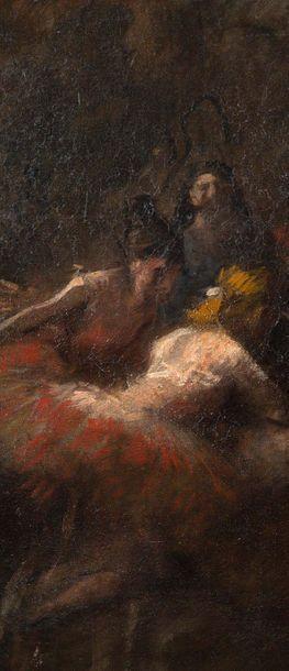 Jean-Louis FORAIN (1852-1931) Les danseuses de l'Opéra Huile sur toile, monogrammée...