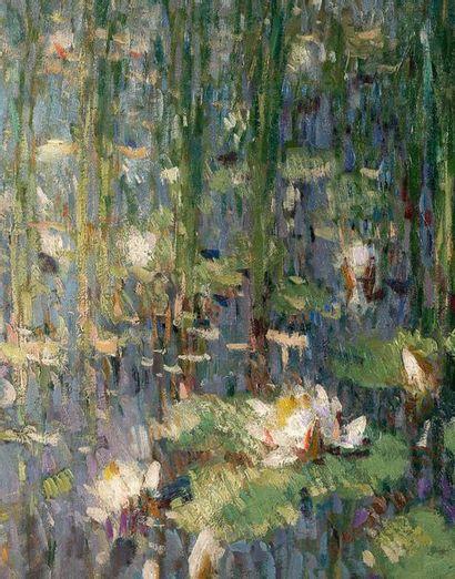Pierre-Eugène MONTÉZIN (1874-1946) Les nymphéas Huile sur toile, signée en bas à...