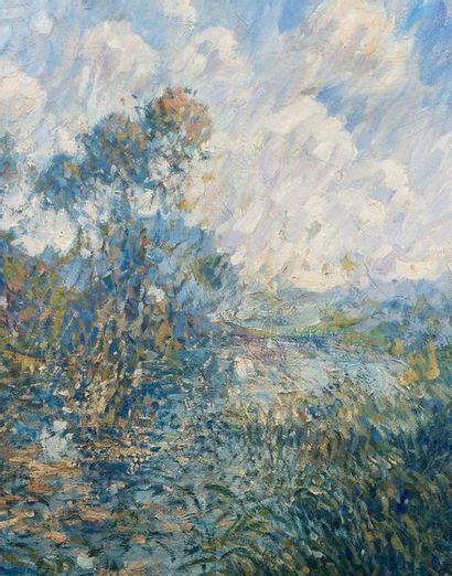 Gustave LOISEAU (1865-1935) Paysage Huile sur toile, signée en bas à droite, 50 cm...