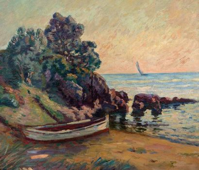 Armand GUILLAUMIN (1841-1927) Barques à Agay, vers 1900 Oil on canvas, signed lower...